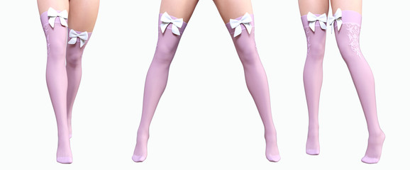 Set sexy slim female legs in nylon pink stockings. Silk butterfly. Conceptual fashion art. Shiny stockings. Seductive candid pose. Photorealistic 3D render illustration. Isolate. Studio, high key.