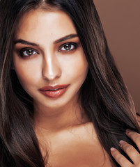 cute happy young indian woman in studio close up smiling, fashion mulatto flirting, lifestyle people concept