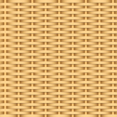 Simple woven wicker texture. Light brown background. Imitation rattan or willow weaving.