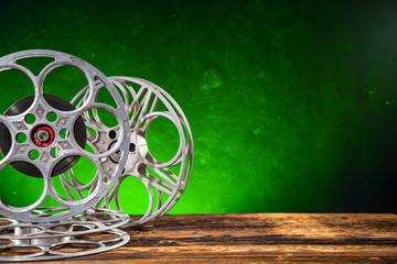 Retro film production accessories still life. Concept of film-making.