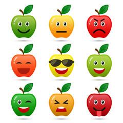 Apple smiley faces. Vector.