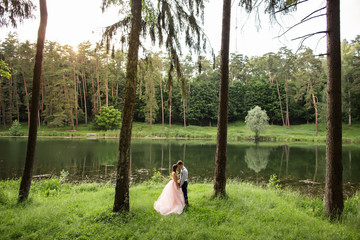 Bride and groom embracing in forest on beautiful landscape background. Rustic wedding