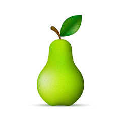 Green pear realistic isolated illustration. Vector.
