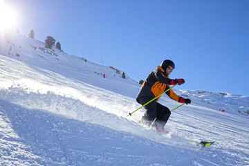 skier turning very fast in the snow in Candanchu, Spain