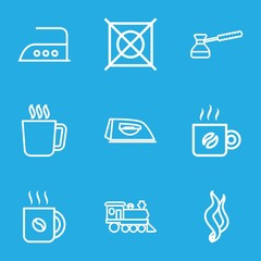 Set of 9 steam outline icons