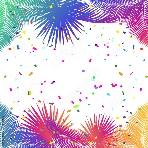 Frame For Carnival Music Festival Masquerade Poster Invitation Design With Confetti