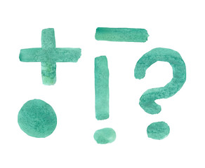Question and exclamation marks, dot, minus, plus painted with a brush and pine green paints by hand
