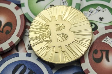 Shiny gold bitcoin coin