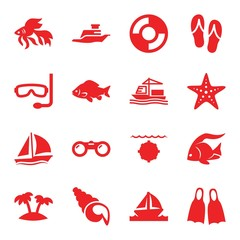 Set of 16 sea filled icons