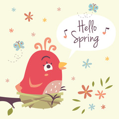 vector hello spring cartoon illustration