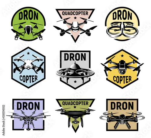Isolated Quadcopter Icons In Colorful Frames Rc Drone Logos Collection Fpv Device Logotype Set