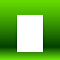 Vector of green empty studio room with poster background, template mock up for display of content or product