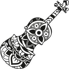 Vector illustration of a mandala violin silhouette