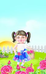 Girl standing in the rose garden