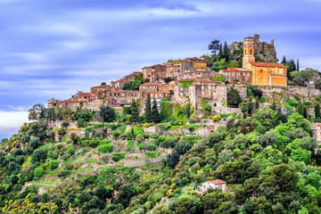 Eze village on hill top, French Riviera, Provence, France