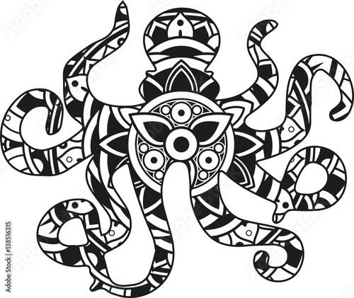 """Download """"Vector illustration of a mandala octopus silhouette ..."""