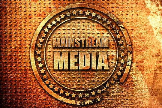 mainstream media, 3D rendering, metal text