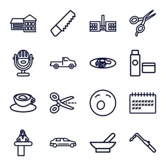 Set of 16 clipart outline icons