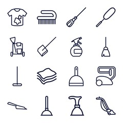 Set of 16 cleaner outline icons