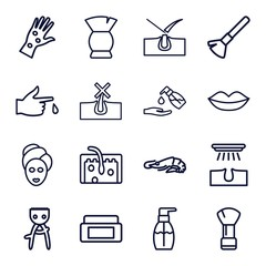 Set of 16 skin outline icons