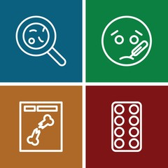 Set of 4 disease outline icons