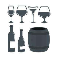 wine set bottles isolated icon vector illustration design