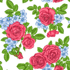 beautiful vintage seamless pattern with bouquets of roses and leaves.