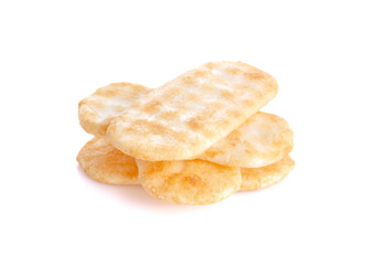 Japanese rice crackers on white background