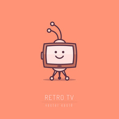 Cute retro tv cartoon character in simple linework style vector illustration