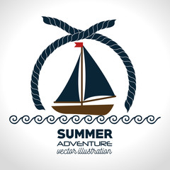 nautical frame with sailboat vector illustration design