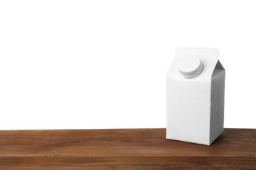 Simple milk box on white background