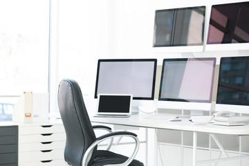 Interior of modern surveillance room