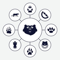 Set of 9 bear filled icons