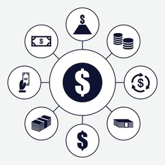 Set of 9 salary filled icons