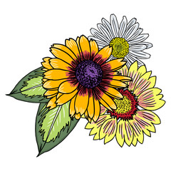 Vintage bouquet of different sun flowers with chamomile, rose, leaves and cornflowers. Vintage style. Vector.