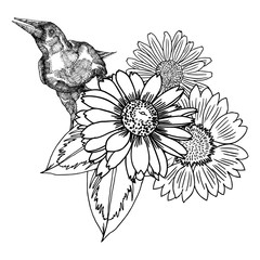 Flowers. Bouquet of different hand drawn flowers. Vintage black white and isolated, can be used as invitation, colouring book, greeting card, print Vector.