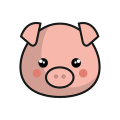 cute pig kawaii style vector illustration design