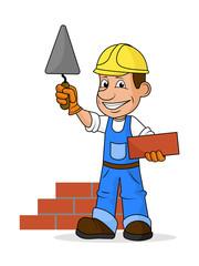 Cheerful builder .Vector illustration.