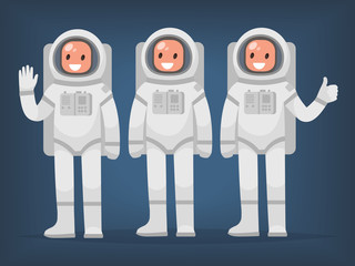 Astronaut team on an isolated background. Vector illustration in a flat style