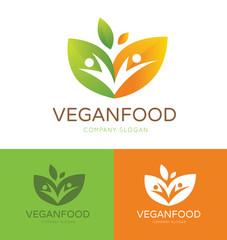 Vegan food logo people and green logo