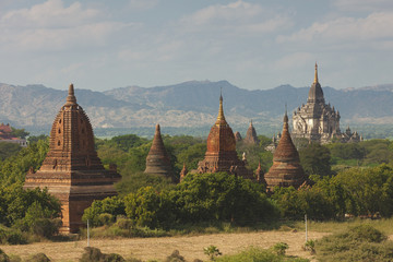Image of temples, pagodas and stupas in Bagan on a sunny day