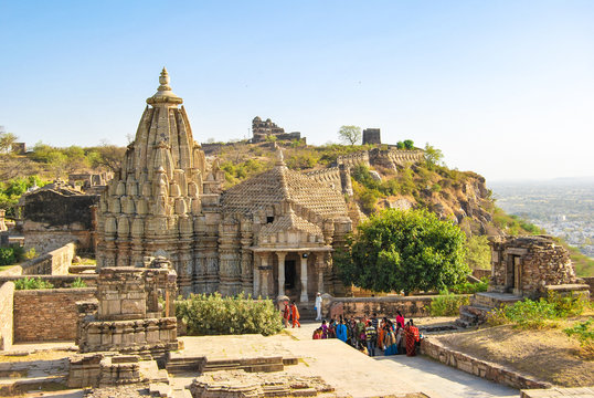 Chittorgarh Fort, the largest fort in India. Hindu Temple in the fort. Rajasthan, India.