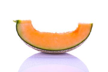 cantaloupe close up isolated on white background.