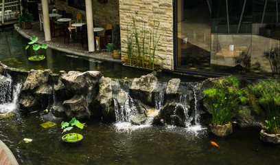 Beautiful landscape with fountain, water lily in a pond and natural stone wall photo taken in Central Park Mall Jakarta Indonesia