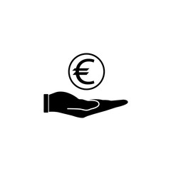 Coin in hand solid icon, finance and business, coin euro sign vector graphics, a filled pattern on a white background, eps 10.