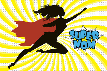 Super Hero Mommy silhouette and text in retro comic style