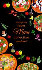 Vertical salads menu with hand drawn dishes and ingredients. Restaurant menu design.