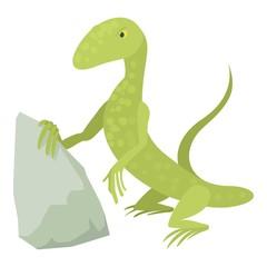 Standing lizard icon, cartoon style