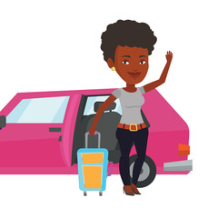 African-american woman traveling by car.