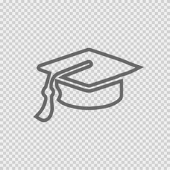 Graduation cap vector icon eps 10 on transparent background.